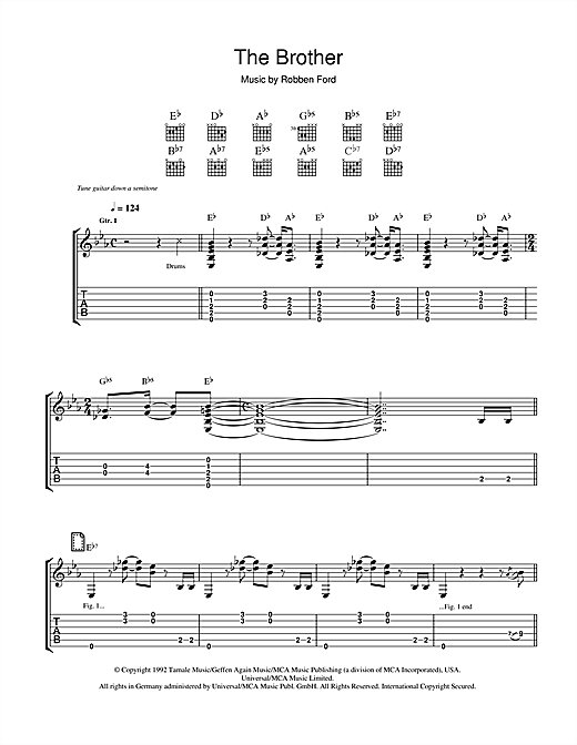 Tablature guitare The Brother (For Jimmie And Stevie) de Robben Ford - Tablature Guitare