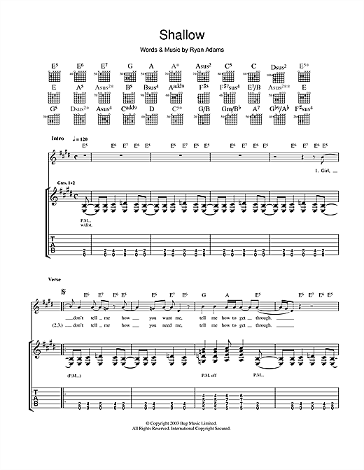Tablature guitare Shallow de Ryan Adams - Tablature Guitare