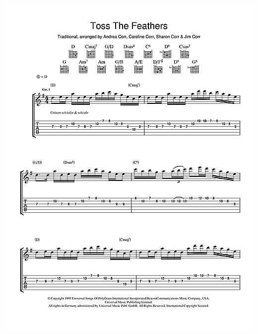 Tablature guitare Toss The Feathers de The Corrs - Tablature Guitare