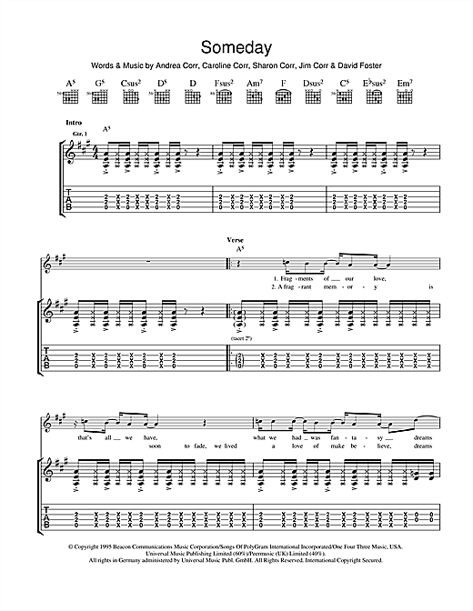 Tablature guitare Someday de The Corrs - Tablature Guitare