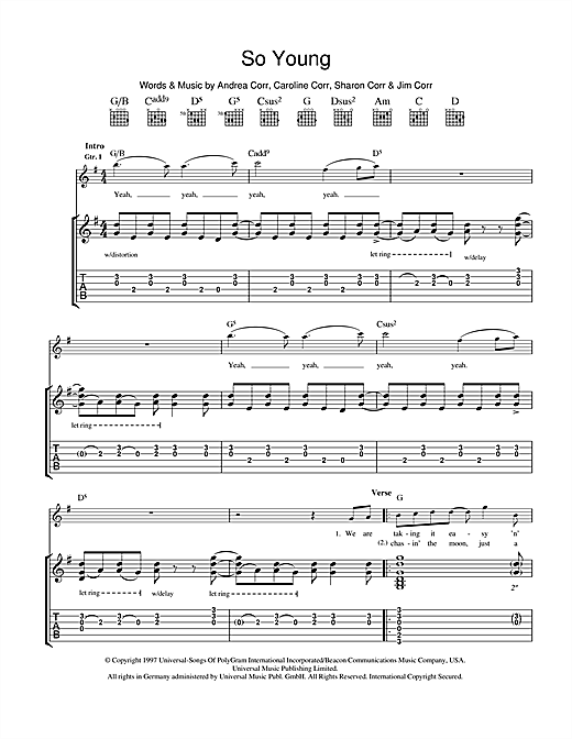 Tablature guitare So Young de The Corrs - Tablature Guitare
