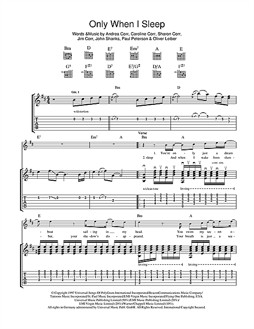 Only When I Sleep Sheet Music