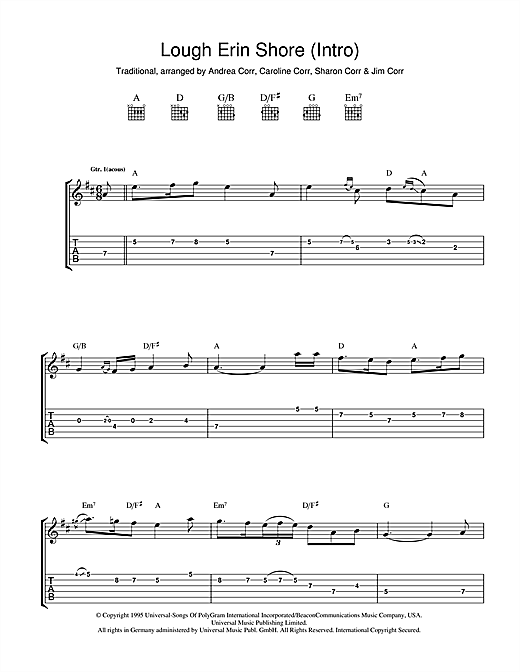 Tablature guitare Lough Erin Shore de The Corrs - Tablature Guitare