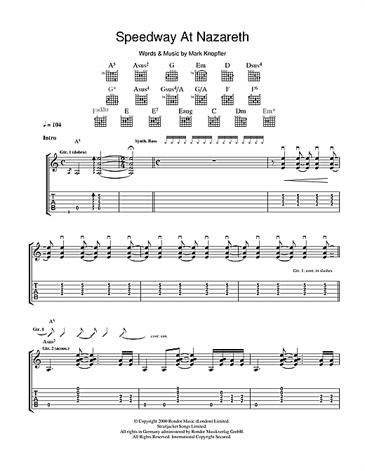 Tablature guitare Speedway At Nazareth de Mark Knopfler - Tablature Guitare