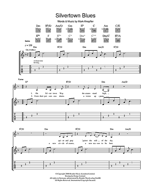 Tablature guitare Silvertown Blues de Mark Knopfler - Tablature Guitare