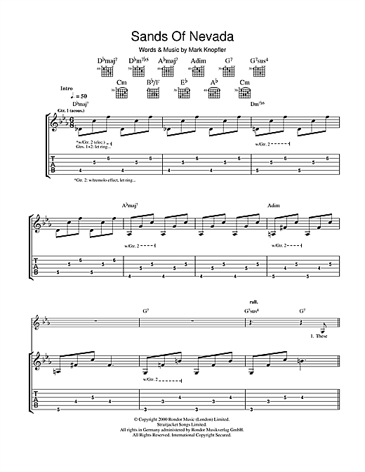 Sands Of Nevada Sheet Music