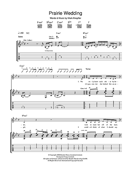 Tablature guitare Prairie Wedding de Mark Knopfler - Tablature Guitare