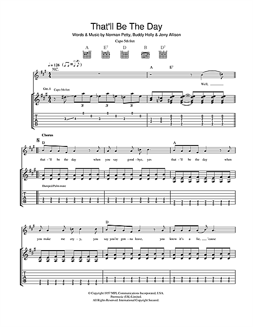 Tablature guitare That'll Be The Day de Buddy Holly - Tablature Guitare