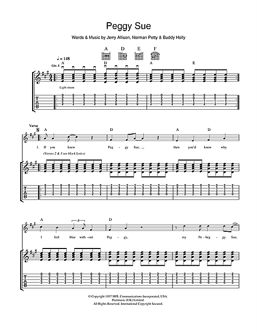 Tablature guitare Peggy Sue de Buddy Holly - Tablature Guitare