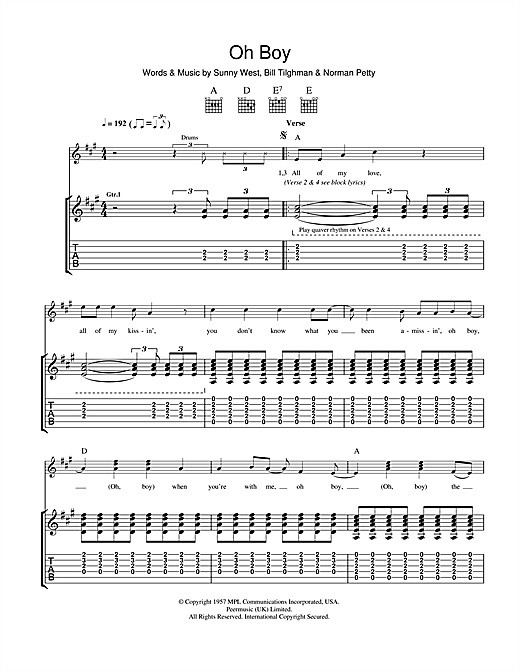 Tablature guitare Oh Boy de Buddy Holly - Tablature Guitare