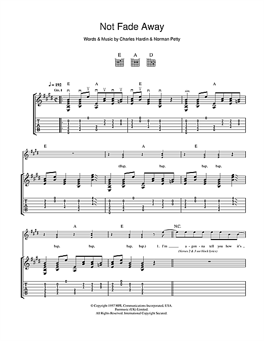 Not Fade Away Sheet Music