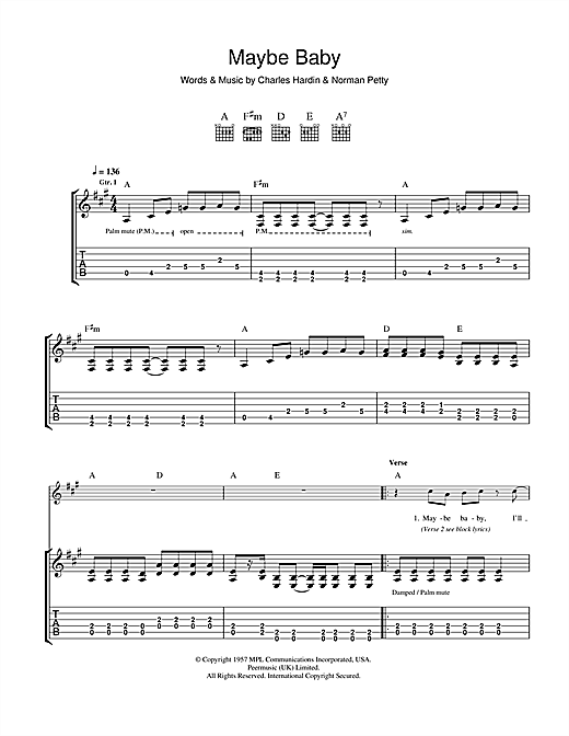 Tablature guitare Maybe Baby de Buddy Holly - Tablature Guitare