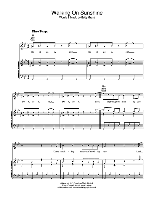 Walking On Sunshine (Piano, Vocal & Guitar (Right-Hand Melody))