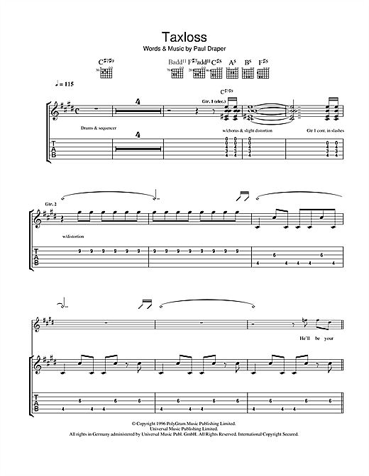 Tablature guitare Taxloss de Mansun - Tablature Guitare