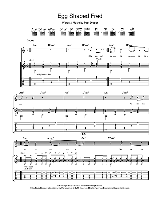 Tablature guitare Egg Shaped Fred de Mansun - Tablature Guitare