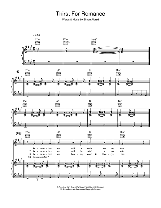 Thirst For Romance Sheet Music