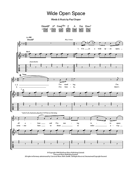 Tablature guitare Wide Open Space de Mansun - Tablature Guitare