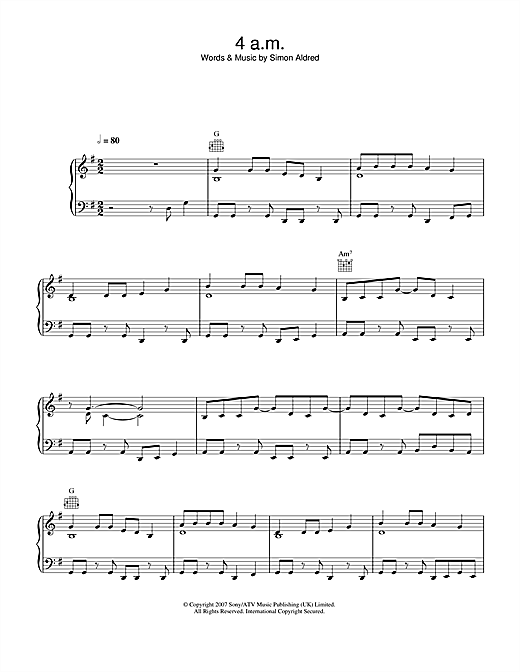 4am Sheet Music
