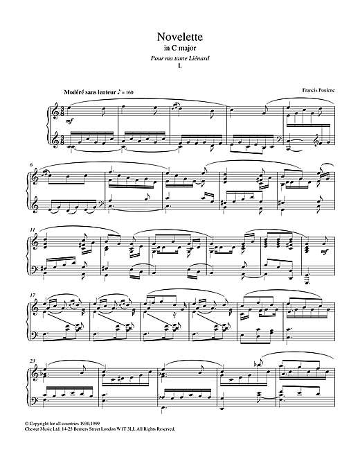 Novelette In C Major, I (from the Three Novelettes) Sheet Music