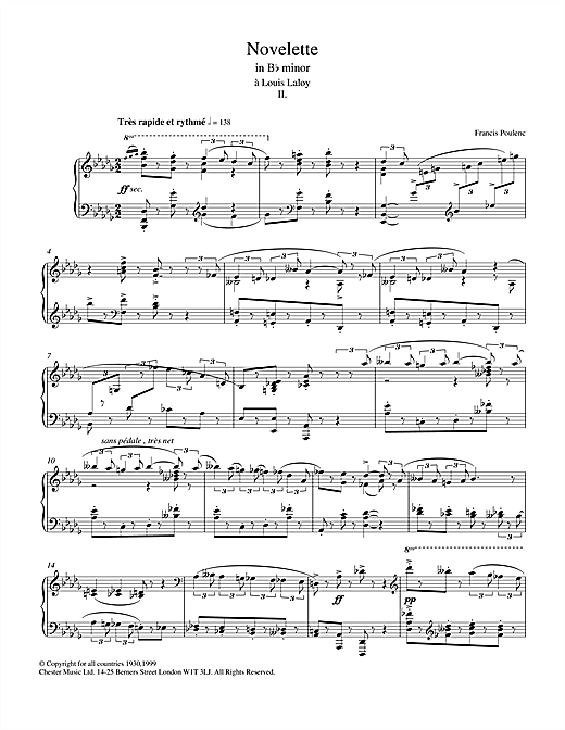 Novelette In B Flat Minor, II (from the Three Novelettes) Sheet Music