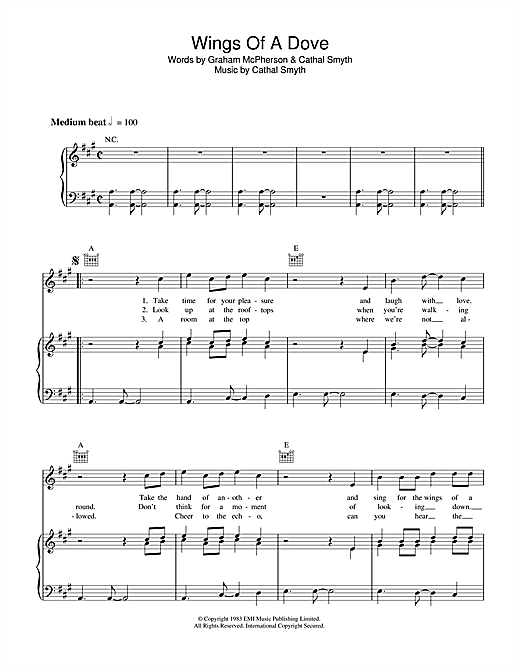 Wings Of A Dove (Piano, Vocal & Guitar (Right-Hand Melody))