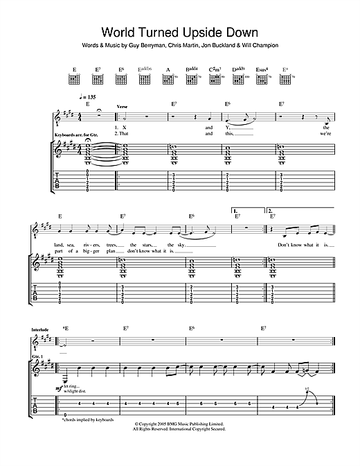 Tablature guitare The World Turned Upside Down de Coldplay - Tablature Guitare