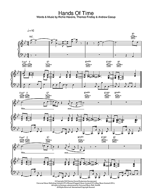 Hands Of Time Sheet Music