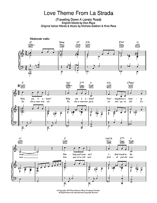 Love Theme (from La Strada) Sheet Music