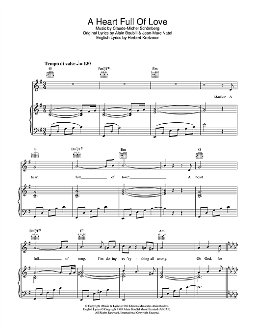 A Heart Full Of Love (from Les Miserables) Sheet Music