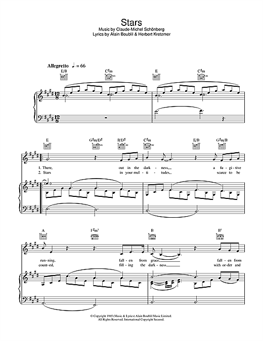 Stars (from Les Miserables) (Piano, Vocal & Guitar) - Sheet Music