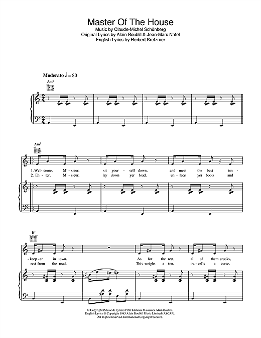 Master Of The House (from Les Miserables) Sheet Music