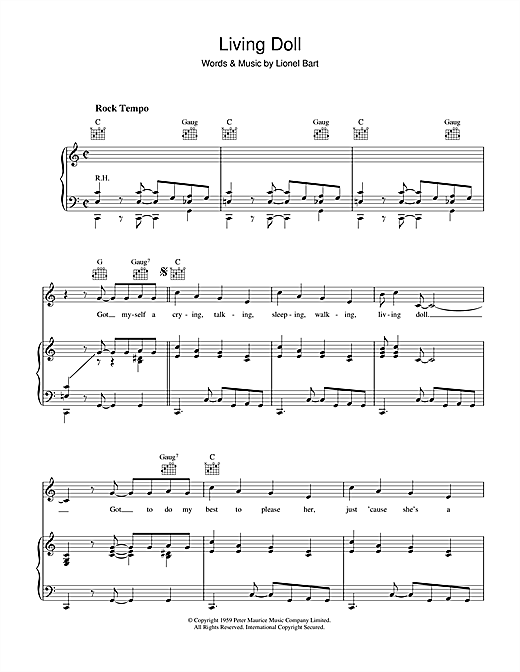 Living Doll (Piano, Vocal & Guitar (Right-Hand Melody))