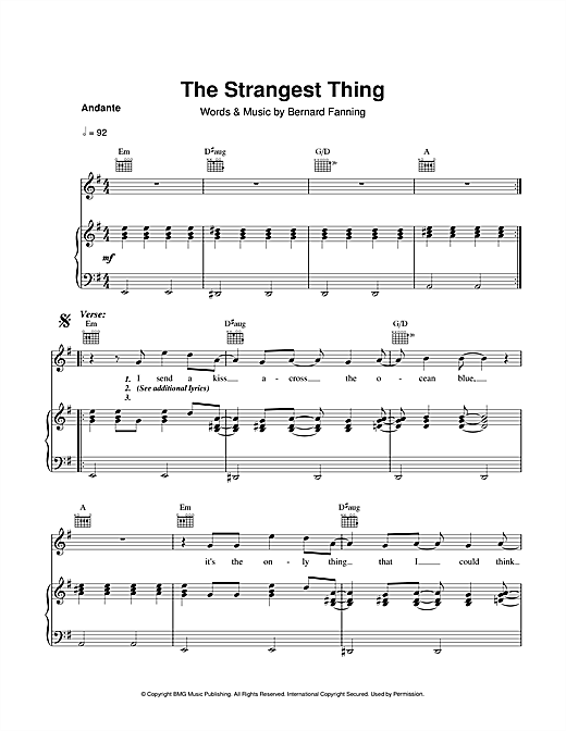 Partition piano The Strangest Thing de Bernard Fanning - Piano Voix Guitare (Mélodie Main Droite)