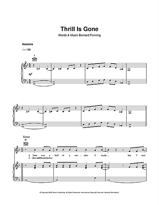 Thrill Is Gone Sheet Music