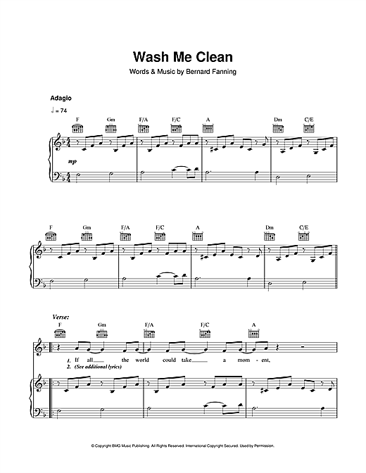 Wash Me Clean Sheet Music