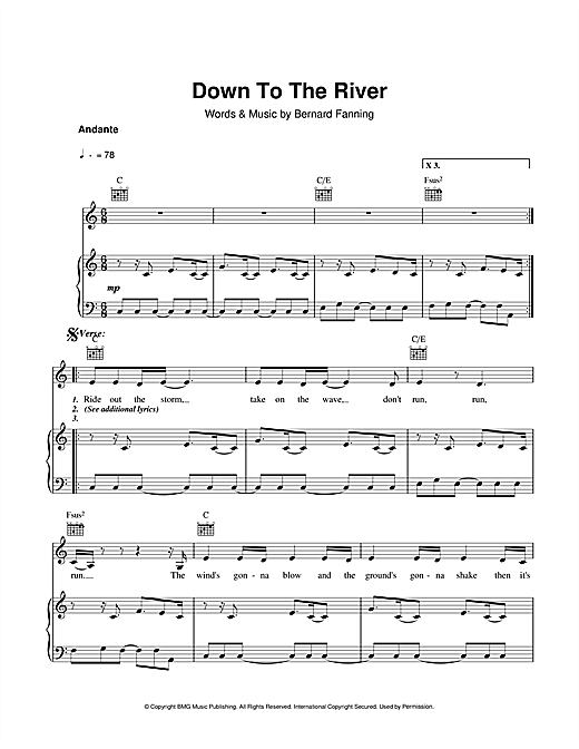 Partition piano Down To The River de Bernard Fanning - Piano Voix Guitare (Mélodie Main Droite)