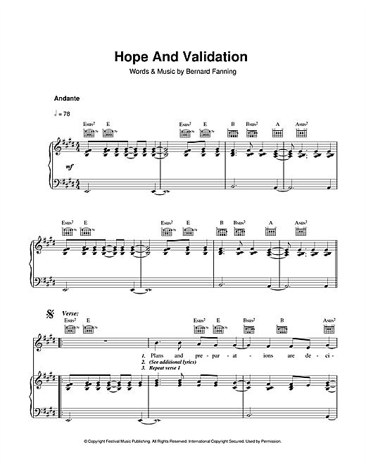 Partition piano Hope And Validation de Bernard Fanning - Piano Voix Guitare