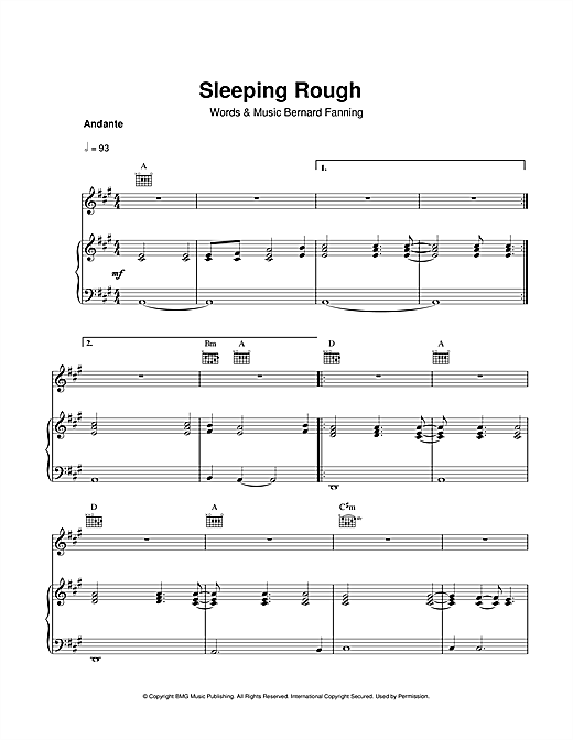 Sleeping Rough Sheet Music