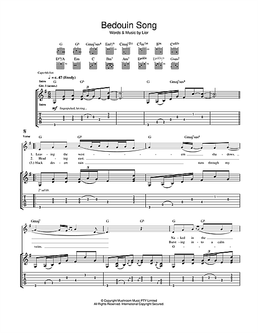 Bedouin Song (Guitar Tab)