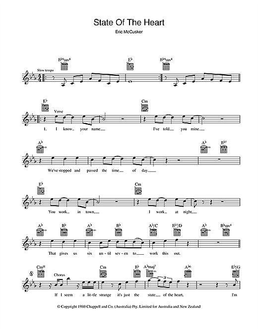 State Of The Heart Sheet Music
