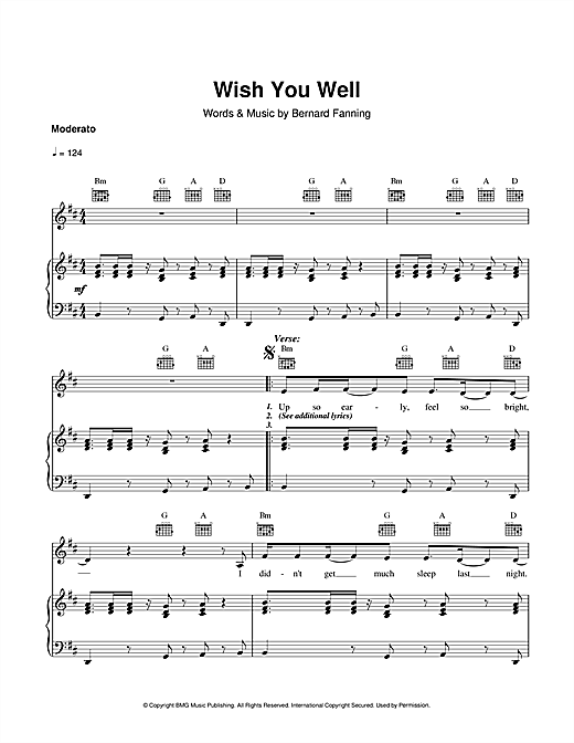 Partition piano Wish You Well de Bernard Fanning - Piano Voix Guitare