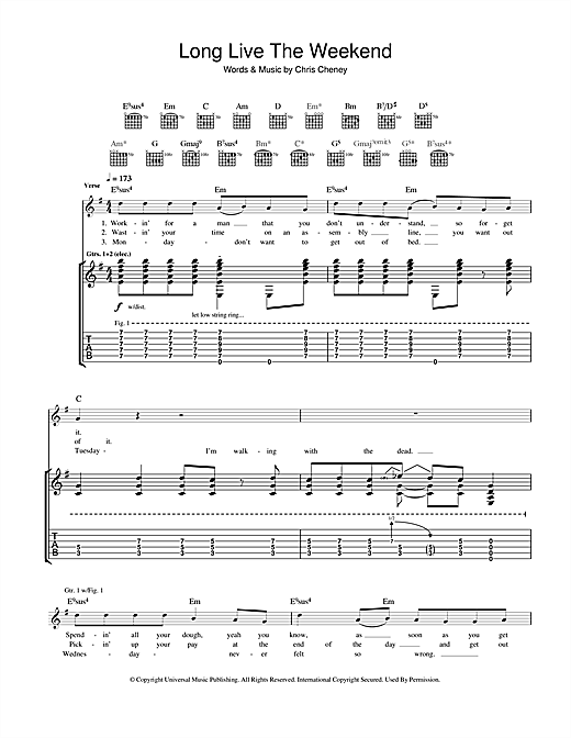 Tablature guitare Long Live The Weekend de The Living End - Tablature Guitare