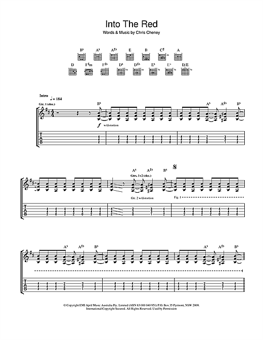 Tablature guitare Into The Red de The Living End - Tablature Guitare
