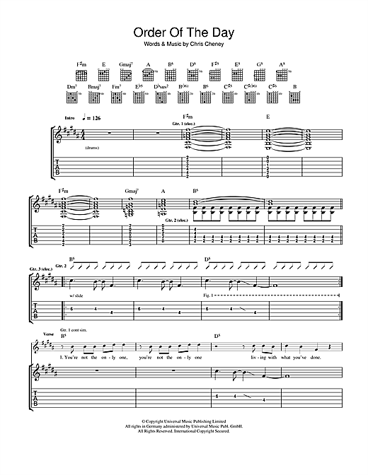 Tablature guitare Order Of The Day de The Living End - Tablature Guitare