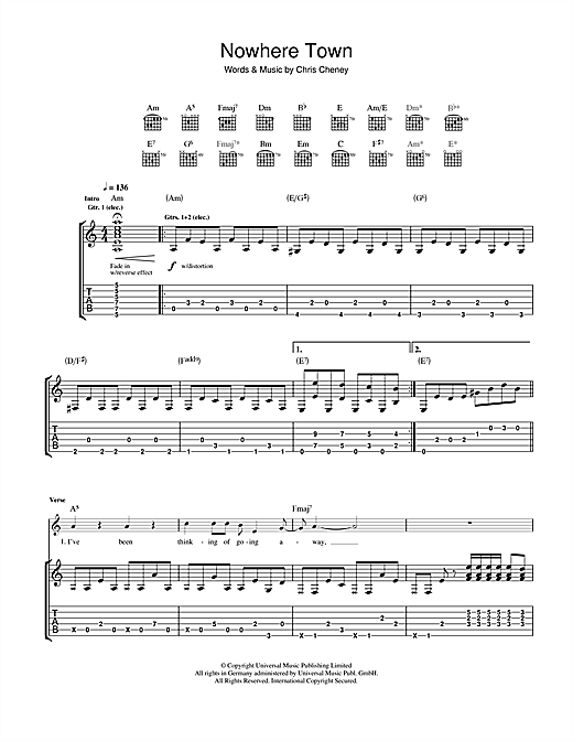 Tablature guitare Nowhere Town de The Living End - Tablature Guitare