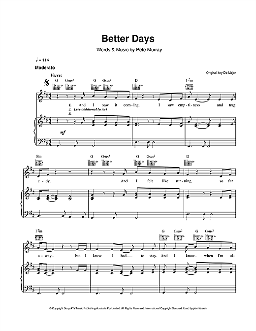 Better Days Sheet Music