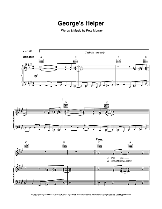 Partition piano George's Helper de Pete Murray - Piano Voix Guitare