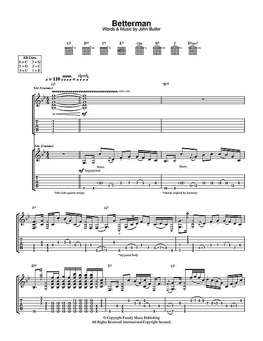 Betterman Sheet Music