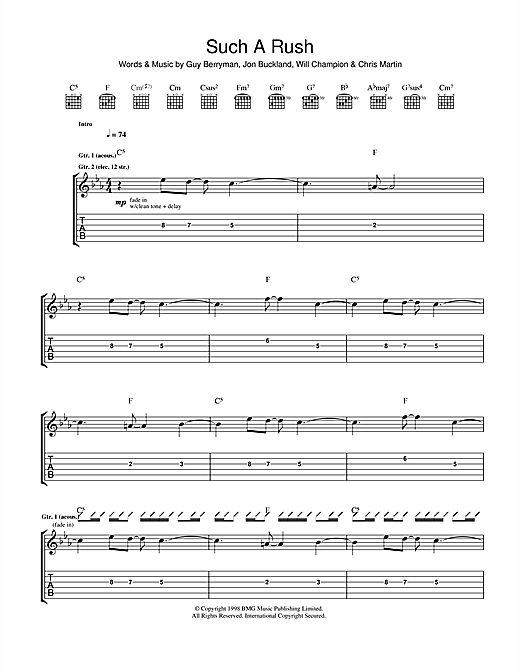 Tablature guitare Such A Rush de Coldplay - Tablature Guitare
