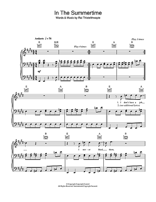 In The Summertime Sheet Music